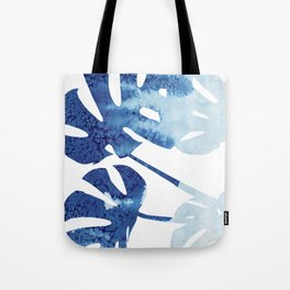 Navy Blue Tropical Leaf Tote Bag