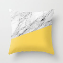 Marble and Primrose Yellow Color Throw Pillow