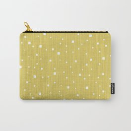 Squares and Vertical Stripes - Yellow and White - Hanging Carry-All Pouch