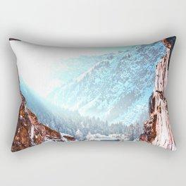 Winter Cabin and the Cave | Surreal Nature and Landscape Collage | Fairy Tale Dreamscape Rectangular Pillow