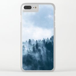 Blue Foggy Rocky Mountains Colorado USA Adventure Clear iPhone Case