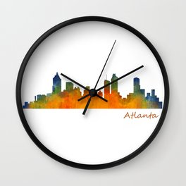 Atlanta City Skyline watercolor Hq v1 Wall Clock