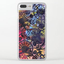 Japanese Stencil Pattern #2 | Flowing Water Waterwheel Basket Weave | Charcoal Multi Watercolor Clear iPhone Case