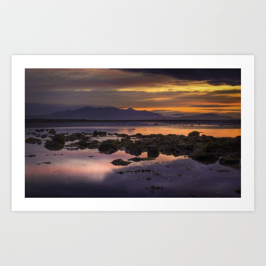 Sunset over Arran Scotland Art Print