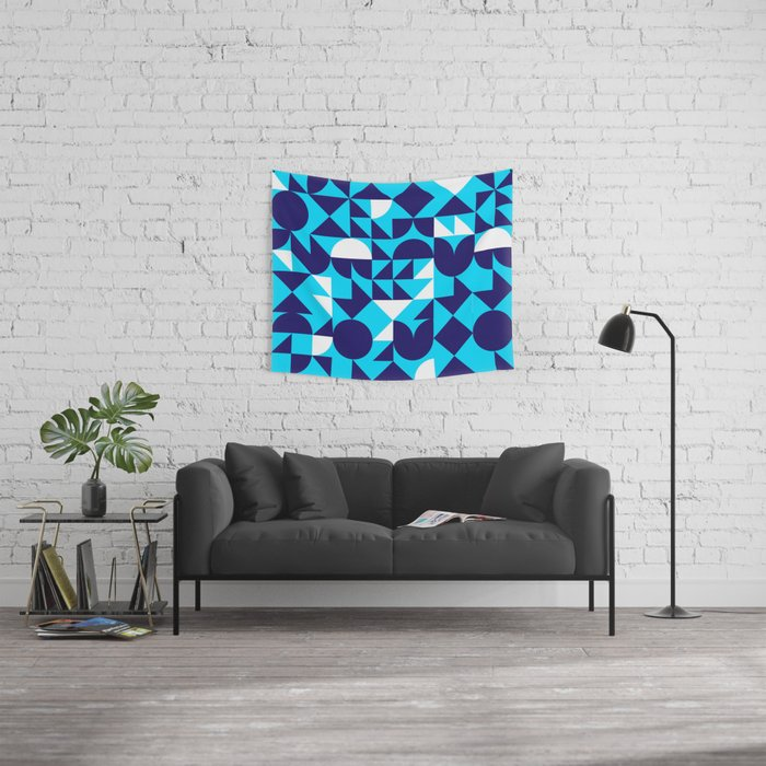 geometric blue Wall Tapestry