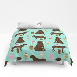 chocolate lab ice cream cute funny dog breed pet pattern labrador retriever Comforters
