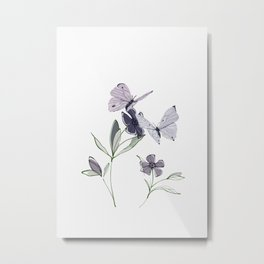 Flowers and butterflies 4 Metal Print