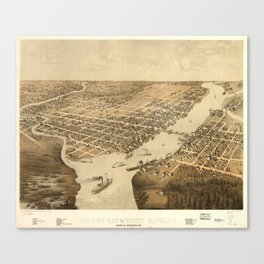 Vintage Pictorial Map of Green Bay WI (1867) Canvas Print