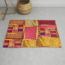 """""""Exotic fabric, ethnic and bohemian style, patches"""" Rug"""