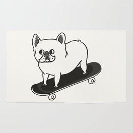 Skateboarding French Bulldog Rug