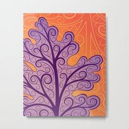 Oak Leaf Print, Orange and Purple Art Nouveau Metal Print