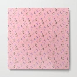 Pink Soft Florals Print Metal Print