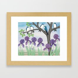 tree swallows & irises Framed Art Print