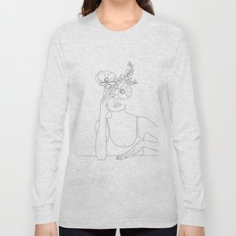 Minimal Line Art Woman with Flowers II Long Sleeve T-shirt
