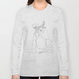 Minimal Line Art Woman with Flowers II Long Sleeve T-shirt