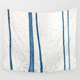 Parallel Universe [vertical]: a pretty, minimal, abstract piece in lines of vibrant blue and white Wall Tapestry