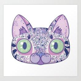 Chromatic Cat II (Purple, Blue, Pink) Art Print