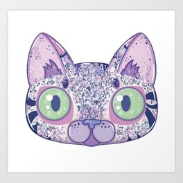 Chromatic Cat II (Purple, Blue, Pink) Art Print