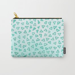 Teal Glitter Triangles Carry-All Pouch