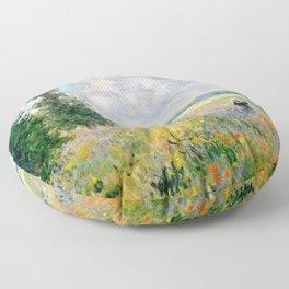 Poppy Fields near Argenteuil by Claude Monet Floor Pillow