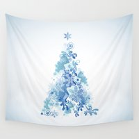 christmas tree Wall Tapestries featuring Christmas Tree by MaNia Creations