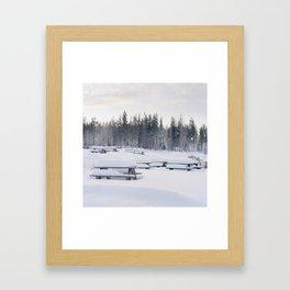 Winter benches Framed Art Print