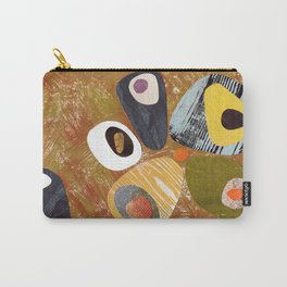 Textured Retro Collage Warm Neutrals Browns Carry-All Pouch
