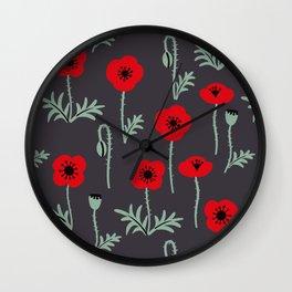 Red poppy flower pattern Wall Clock