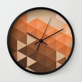 Warm Brown  -  Geometric Triangle Pattern Wall Clock