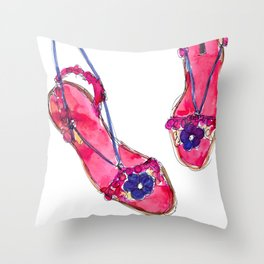 Summer Sandals Throw Pillow