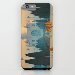 Morning Mist in Taj Mahal Vintage Beautiful Japanese Woodblock Print Hiroshi Yoshida iPhone Case