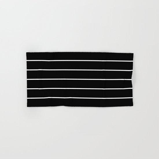 Black White Pinstripes Hand & Bath Towel