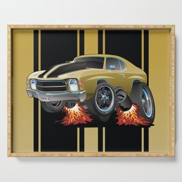 Classic American Seventies Muscle Car Cartoon, Gold with Black Stripes, Popping a Wheelie Serving Tray