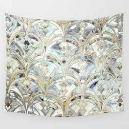 Pale Bright Mint and Sage Art Deco Marbling Wall Tapestry