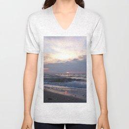 Beach, Sea and Sunset Unisex V-Neck