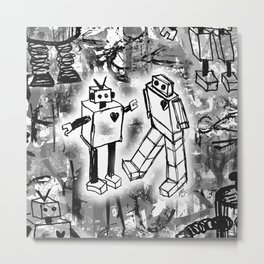 Robot Love Metal Print