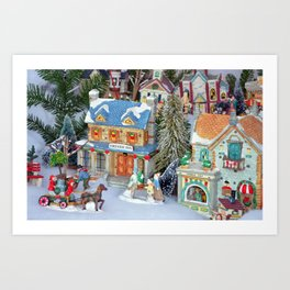 Miniature christmas village Art Print