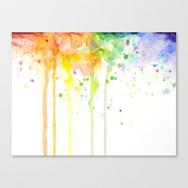 Watercolor Rainbow Splatters Abstract Texture Canvas Print