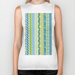 Geometrical lime green blue floral stripes patterns Biker Tank