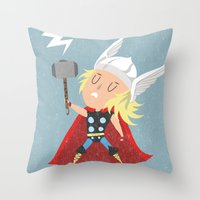 thor Throw Pillows featuring Thor by Rod Perich