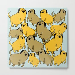Fat Flying Dogs in Glasses Metal Print