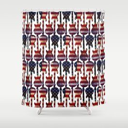 American Flag Guitar Art Shower Curtain