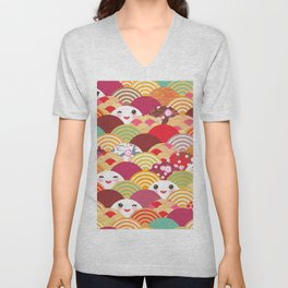 Kawaii Nature background with japanese sakura flower, wave pattern Unisex V-Neck
