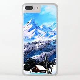 Snowy mountains and ... extremely cold houses. Clear iPhone Case
