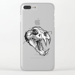 Tiger Skull Handmade Drawing, Made in pencil, charcoal and ink, Tattoo Sketch, Tattoo Flash, Sketch Clear iPhone Case