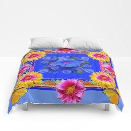 BUTTERFLIES FUCHSIA DAHLIA SUNFLOWER MORNING GLORY BLUE  FLORAL Comforters
