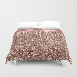 Rose Gold Drip & Sparkle Duvet Cover