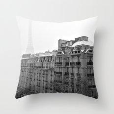 Paris Snow Throw Pillow