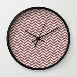 Pink and brown chevron Wall Clock