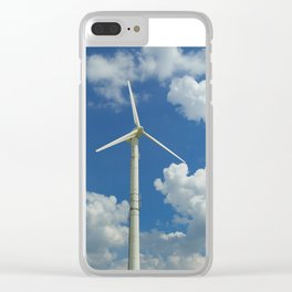 Wind Turbine Windmill in the Landscape with Yellow Colza Field and Blue Sky Clear iPhone Case